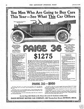Merchandise & Memorabilia 1916 Paige Detroit Motor Car Company Advertisement